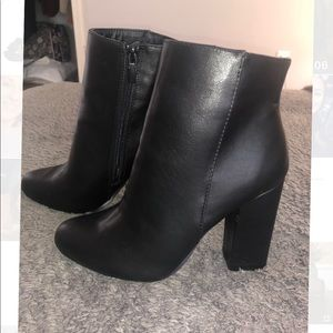 Bamboo black leather booties